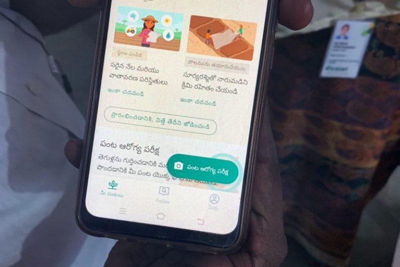 phone showing plantix app