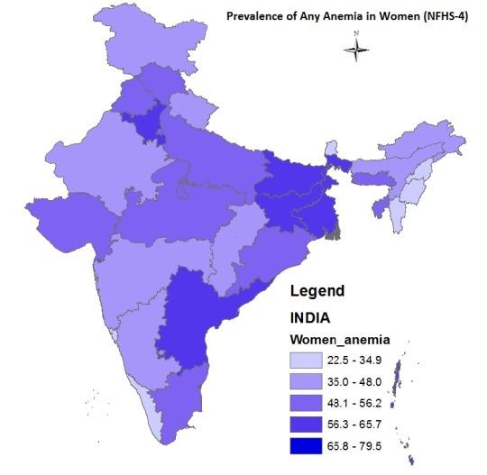 Map showing prevalence of Any Anemia in women in India