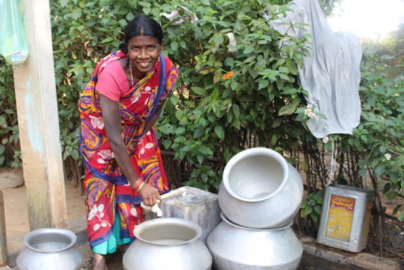 woman with clean water