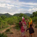 Women and children walking on a farm