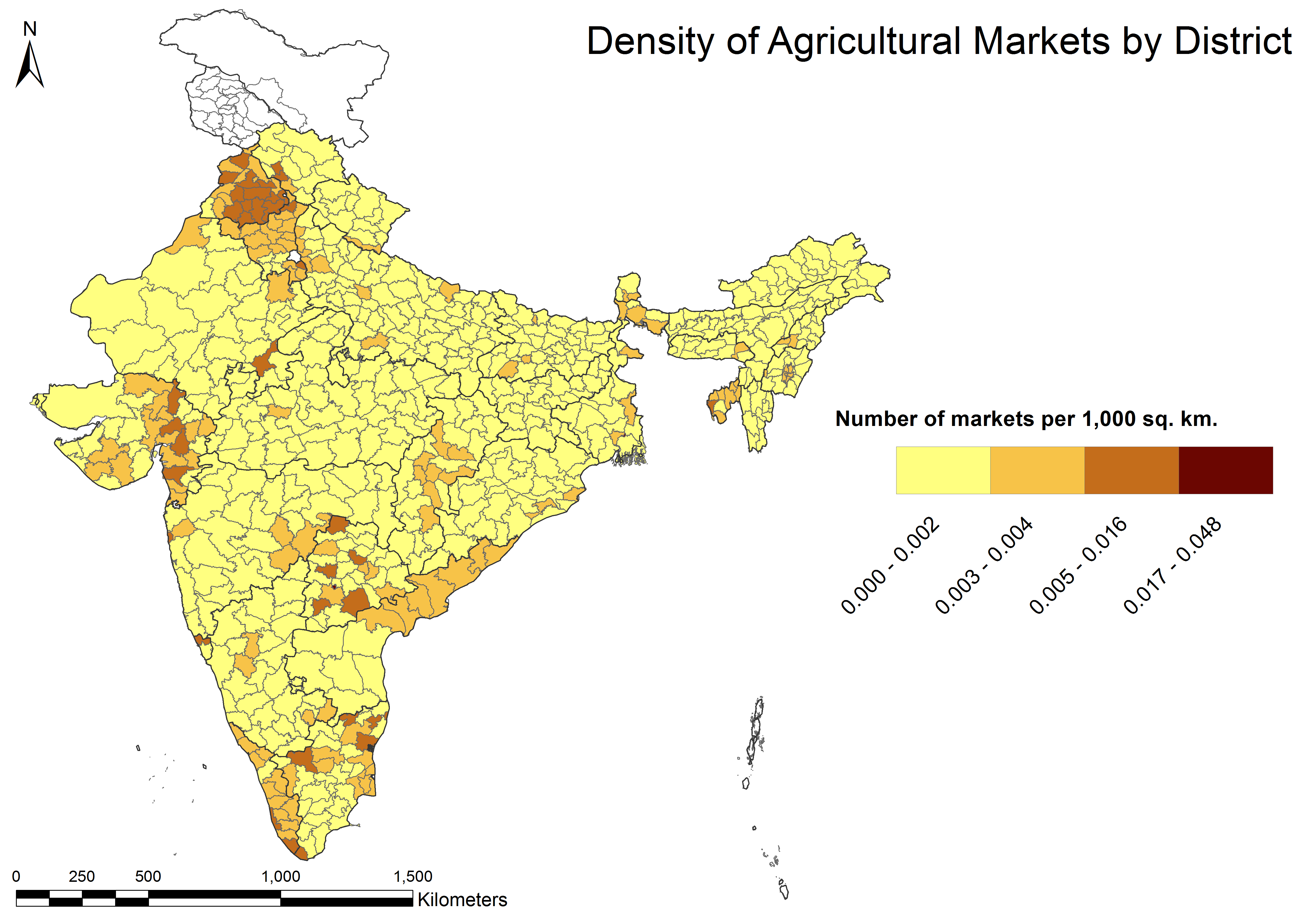 """Spatial map of India showing density of agricultural markets by district. See """"Tables"""" below for data in table form"""