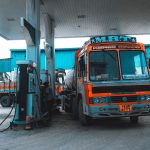 A bus at a gas station